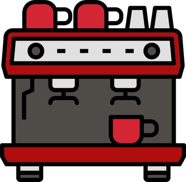 Stile dell'icona del caffè della macchina per l'applicazione di stampa del design del poster del documento del sito web