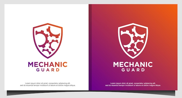 Design del logo degli ingranaggi e dello scudo della macchina