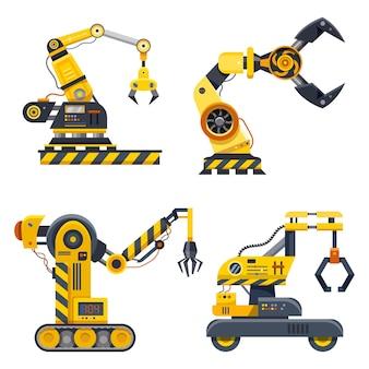 Mani di macchina, set di industria. bracci robotici con mani ad artiglio, ingegneria robotica e produzione automatizzata, tecnologia industriale e macchinari idraulici
