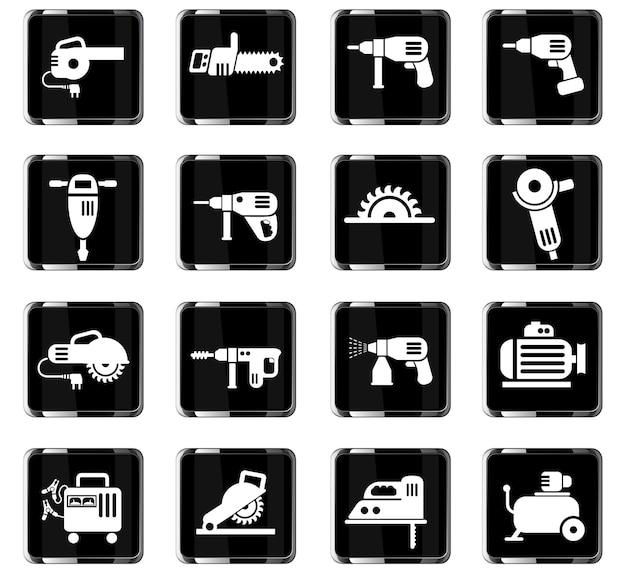 Icone web di macchine utensili per la progettazione dell'interfaccia utente