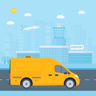 Macchina taxi giallo con autista in città.