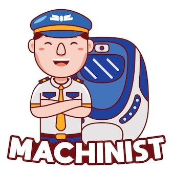 Vettore di logo della mascotte di professione del macchinista nello stile del fumetto