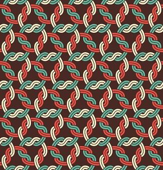 Macrame seamless pattern, ornamento bianco senza cuciture del recinto di collegamento a catena sul nero