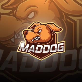 Logo della mascotte di mad dog esport