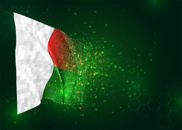 Madagascar, bandiera 3d su sfondo verde con poligoni