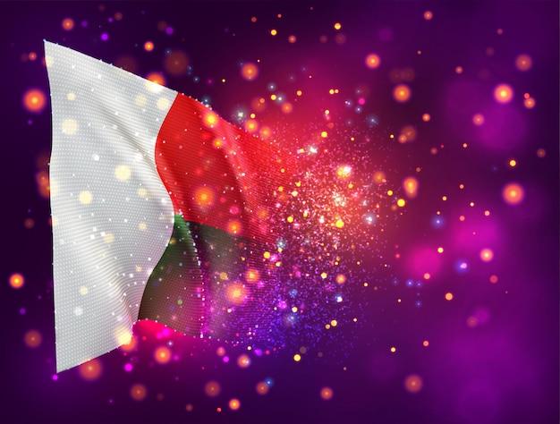 Madagascar, bandiera 3d su sfondo rosa viola con illuminazione e razzi