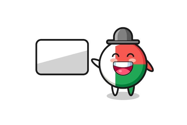 Illustrazione del fumetto del distintivo della bandiera del madagascar che fa una presentazione, design carino