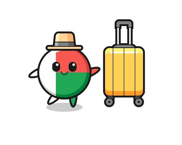 Illustrazione del fumetto del distintivo della bandiera del madagascar con i bagagli in vacanza, design carino