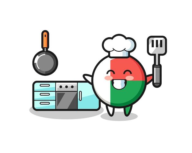 Illustrazione del personaggio del distintivo della bandiera del madagascar mentre uno chef sta cucinando, design carino