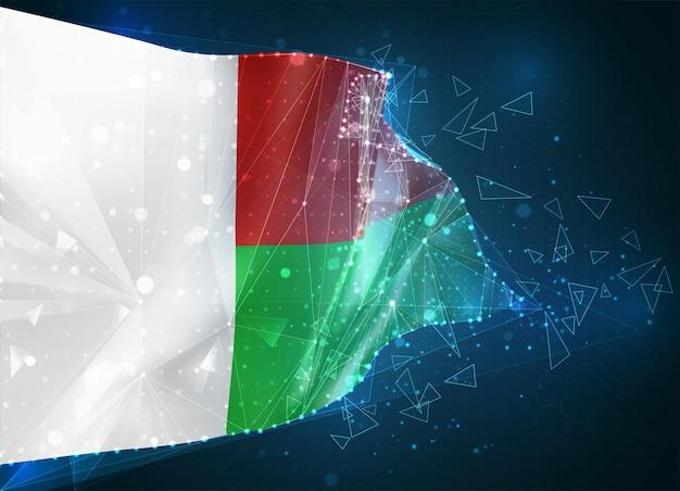 Madagascar, bandiera, oggetto 3d astratto virtuale da poligoni triangolari su sfondo blu