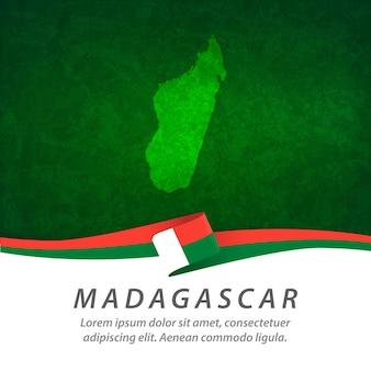 Bandiera del madagascar con mappa centrale