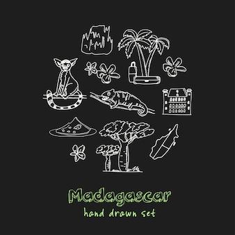 Insieme di doodle disegnato a mano del madagascar