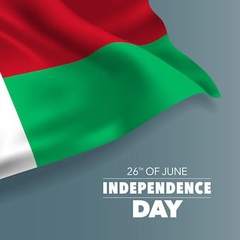 Madagascar felice giorno dell'indipendenza banner illustrazione vacanza malgascia 26 giugno elemento di design con bandiera con curve