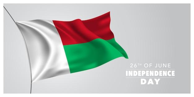 Bandiera di saluto felice giorno dell'indipendenza del madagascar