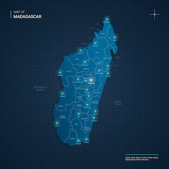 Mappa del madagascar con punti luce al neon blu