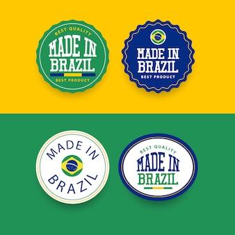 Modello di set di etichette made in brasile.