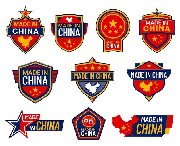 Segnali di etichetta made in china con bandiere