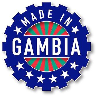 Fatto nel timbro di colore della bandiera del gambia. illustrazione vettoriale