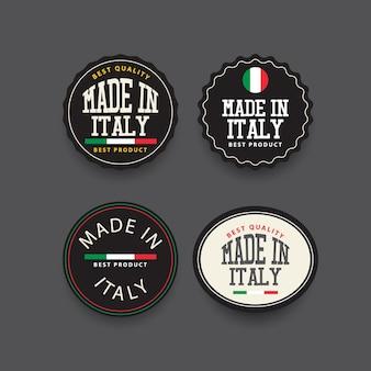Modello di set di etichette made in italy.