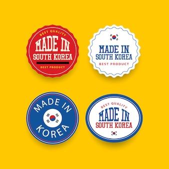 Modello di set di etichette made in corea del sud.