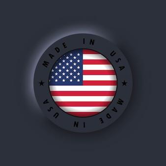 Prodotto negli stati uniti. prodotto negli stati uniti. emblema usa, etichetta, segno, pulsante, distintivo. bandiera degli stati uniti. simbolo americano. vettore. icone semplici con bandiere. interfaccia utente scura di neumorphic ui ux. neumorfismo