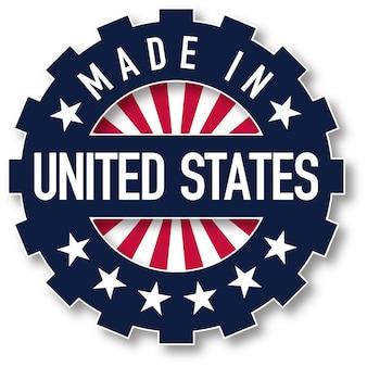 Fatto nel timbro di colore della bandiera degli stati uniti. illustrazione vettoriale