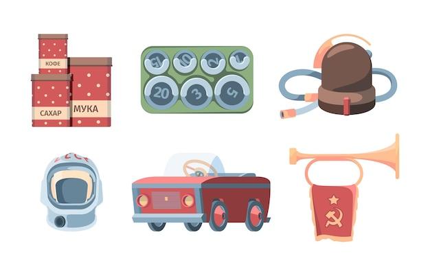 Set made in urss. barattoli di latta rossi che conservano farina zucchero aspirapolvere retrò cosmonauti sovietici casco macchina a pedali per bambini tromba con bandiera articoli per la casa socialista.