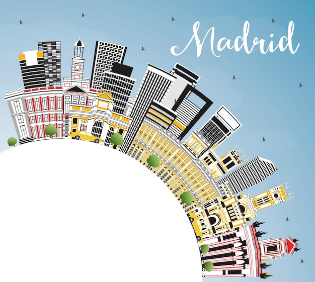 Orizzonte della città di madrid spagna con edifici grigi, cielo blu e spazio di copia. illustrazione di vettore. viaggi d'affari e concetto di turismo con architettura storica. paesaggio urbano di madrid con punti di riferimento.