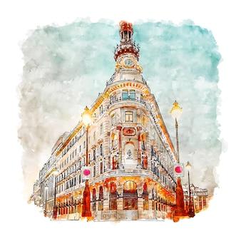 Illustrazione disegnata a mano di schizzo dell'acquerello di madrid spagna