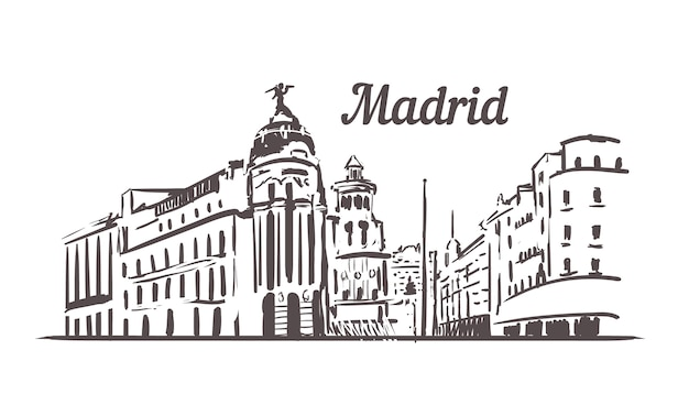 Paesaggio urbano di strada di madrid