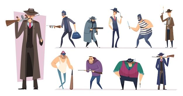 Personaggi della mafia. bandito brutale del gangster mascherato di minaccia con le persone di vettore delle pistole isolate