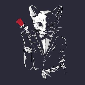 Il gatto di gangster della mafia tiene un fiore rosa