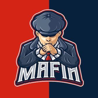 Modello di logo del personaggio della mascotte del gangster della mafia