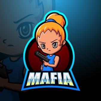 Illustrazione di logo di esport della mascotte della ragazza della mafia