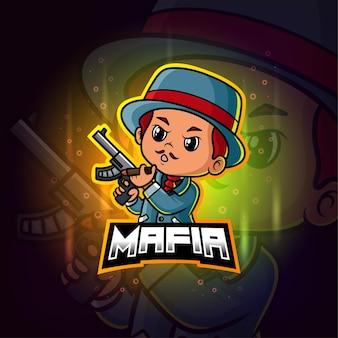 Mascotte mafiosa esport logo colorato