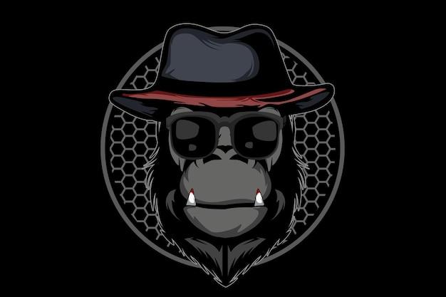 Disegno dell'illustrazione della scimmia mafiosa