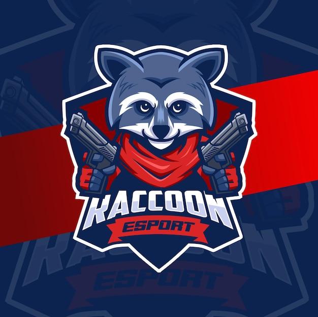 Procione mafioso con personaggio di design logo esport mascotte pistola