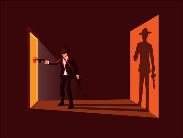 La mafia spara con la pistola e uccide la parte anteriore della porta con l'illustrazione della scena criminale sillhouete
