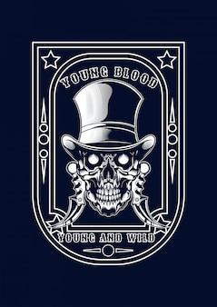 Illustrazione del cranio della mafia per t-shirt