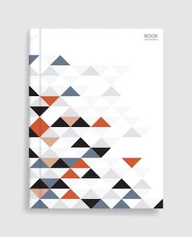 Modello di libro rivista con copertina di motivo geometrico colorato e morbida ombra. Vettore Premium