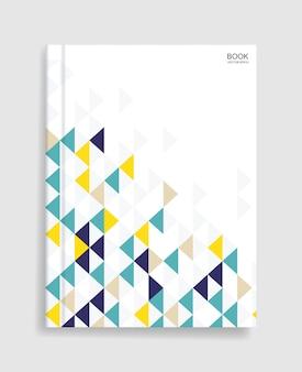 Modello di libro rivista con copertina di motivo geometrico colorato e morbida ombra.