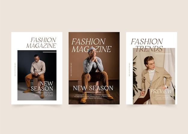 Raccolta di modelli di copertina di una rivista con foto
