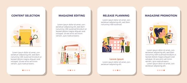 Insieme di modelli di applicazione mobile di concetto di editor di riviste.