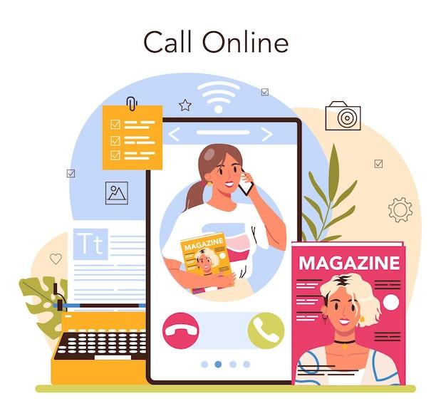 Servizio online dell'editor di riviste o selezione dei contenuti della piattaforma