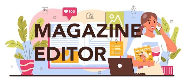 Intestazione tipografica dell'editore della rivista. giornalista e designer che lavora