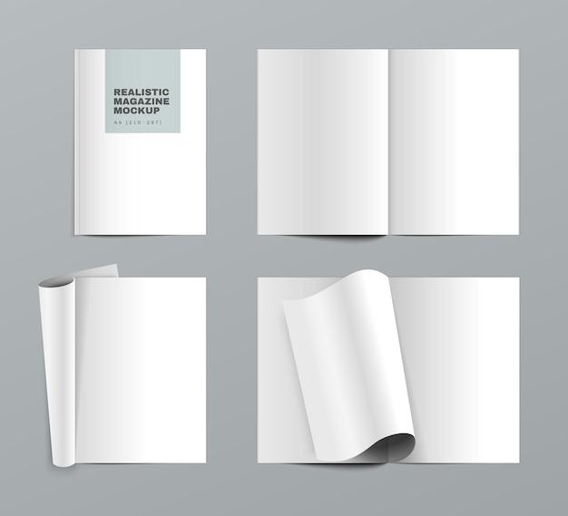 Set realistico di riviste con fogli di carta bianca aperti vuoti