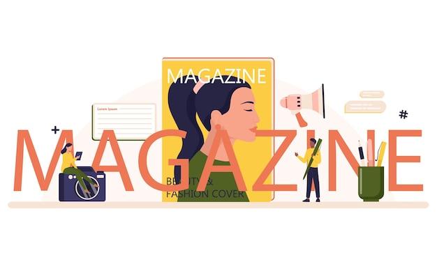 Testo tipografico rivista con illustrazione.