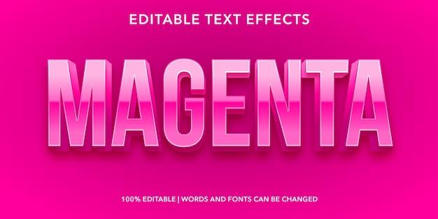 Effetto di testo modificabile stile 3d magenta
