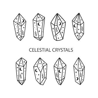 Insieme dell'illustrazione di cristallo magico e celeste