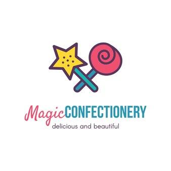 Disegno di marchio di vettore piatto negozio di pasticceria magica. barra dei dolci isolata del profilo, concetto del segno del negozio
